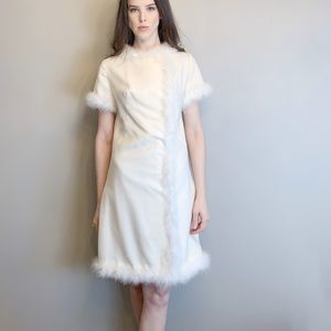 Vintage 1960s mod marabou mini dress